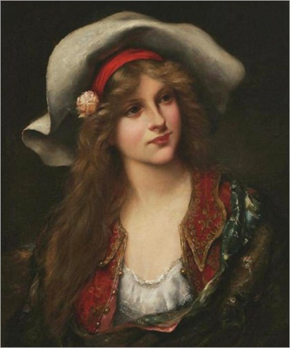 Young Beauty with Floppy Hat - Francois Martin-Kavel