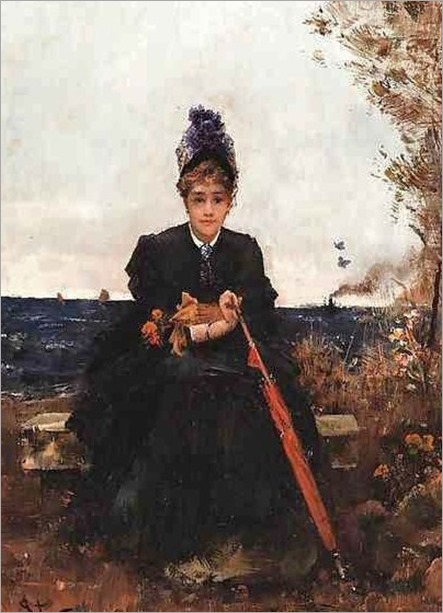 Alfred Stevens (Belgium painter, 1828-1906) Afternoon by the Sea