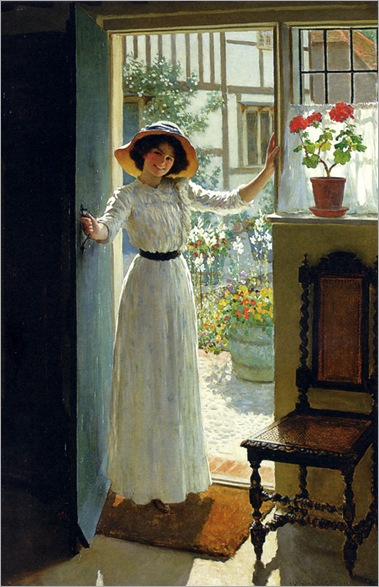 At the Cottage Door - William Henry Margetson (british painter)