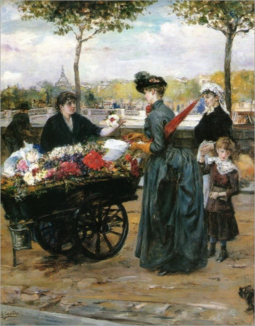 Eduardo Leon Garrido (spanish, 1856-1949)-The flower seller at the Quais de Seine, Paris_768x983