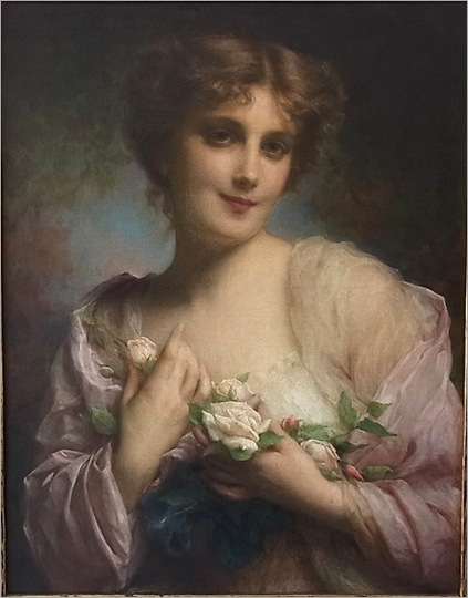 Etienne Adolph Piot Young Woman Holding Roses