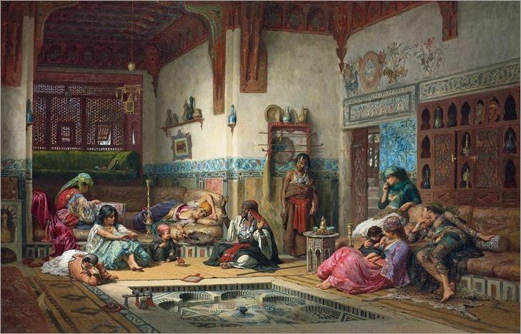 Frederick Arthur Bridgman - The Nubian Storyteller in the Harem