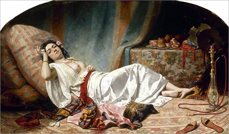 Gabriel Auguste Claire Armand de Fraguier (French, 1803-1873)-Odalisque au nargile