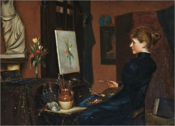 George H.Wimpenny 19-20th century - Portrait of Clara Potts setting at an ease painting a still life, 1897