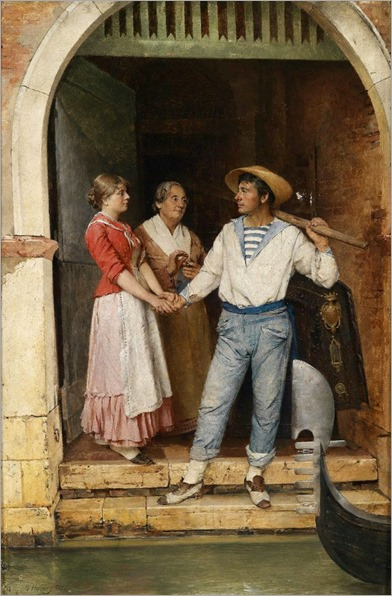 Gustav Holweg-Glantschnigg (1855-1890) The Gondolier's Leave-Taking