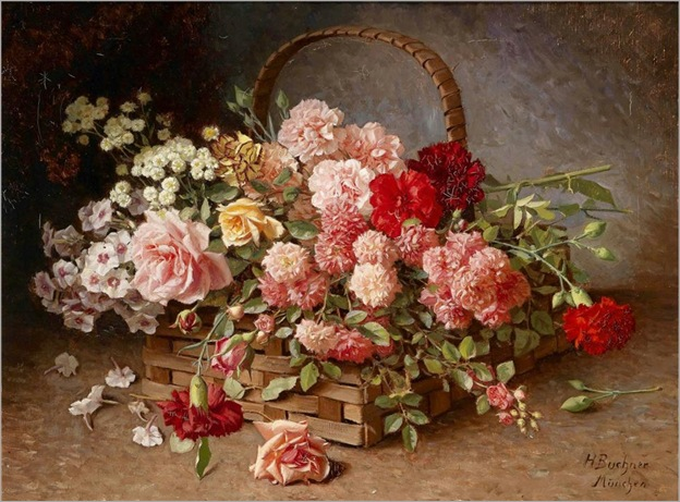 Hans-Buchner(1856-1941)-a-basked-of-roses-and-carnations