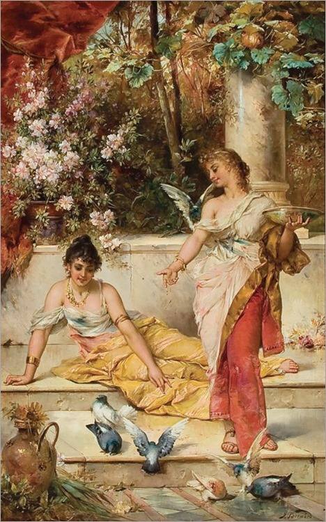 Hans Zatzka - Young Maidens with Doves