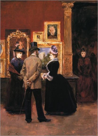 Julius LeBlanc Stewart, Ladies with a Gentleman in a Top Hat, 1888.