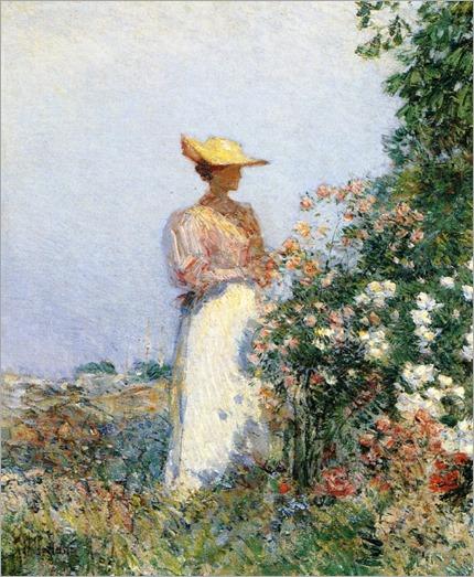 Lady in Flower Garden ~ Childe Hassam