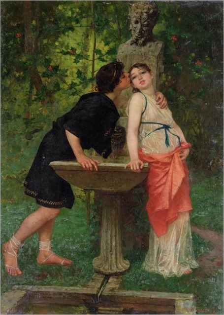 Modesto Faustini (italian) - lovers by a fountain