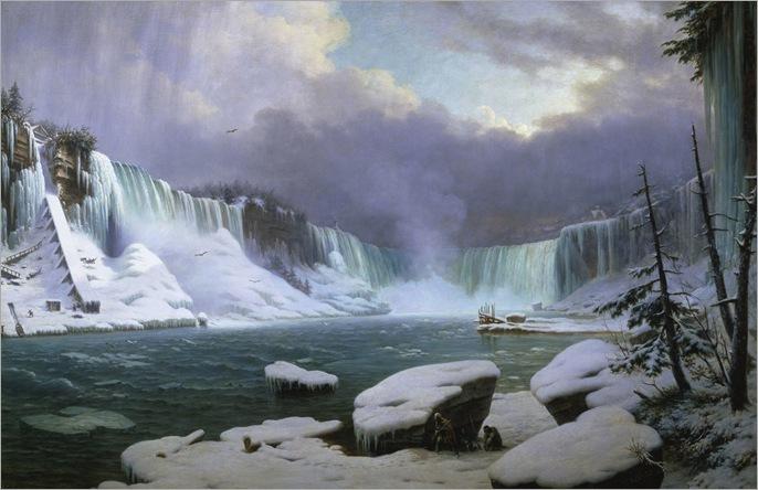Niagara Falls in Winter - Hippolyte Sebron-1857