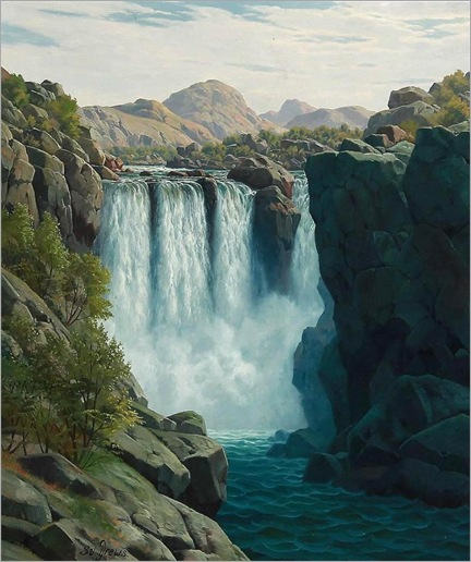 Norwegian Landscape with a Waterfall -by- Svend Age Drews (danish-painter)