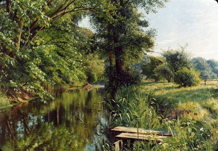 Peder Mork Monsted (1859-1941)-Reflections of spring