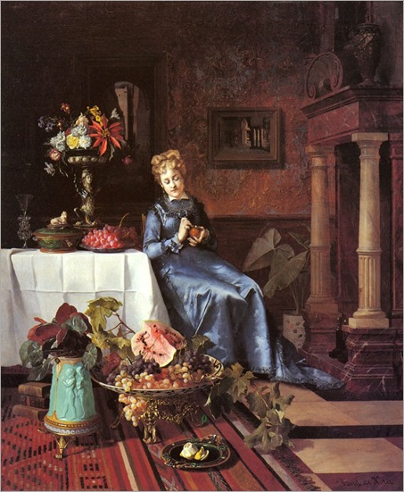 peeling_an_orange- David Emile Joseph de Noter (belgian, 1818-1892)
