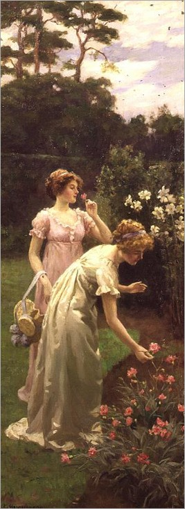 Two ladies picking flowers-Charles Haigh-Wood