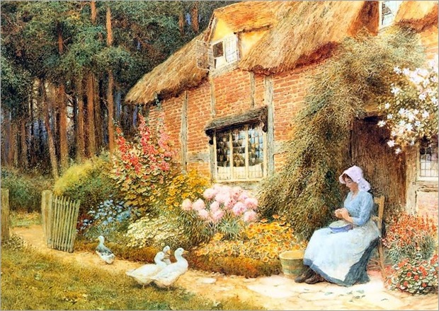 Woman Outside Cottage with Ducks - Arthur Claude Strachan