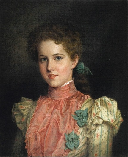 Young Woman in Pink and Green-Jennie Augusta Brownscombe (1850 – 1936, American)