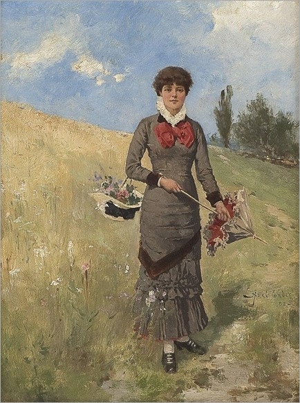 Young woman in the field of flowers -1882- Axel Hjalmar Ender