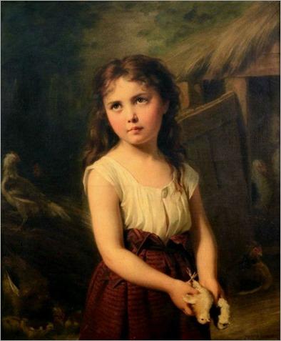 008.GIRL WITH CHICKS -fritz zuber buhler