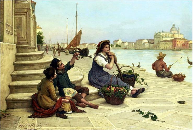 A Venetian fruit-seller- Antonio Paoletti (italian, 1834-1912)
