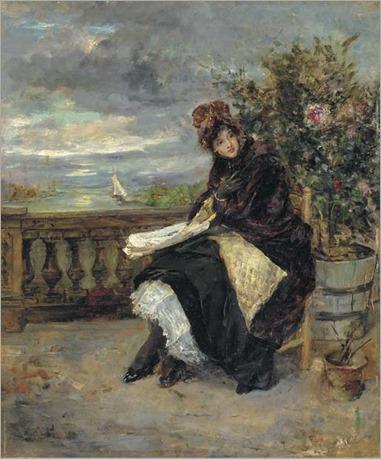 A young beauty on a terrace, Eduardo León Garrido. Spanish (1856 - 1949)