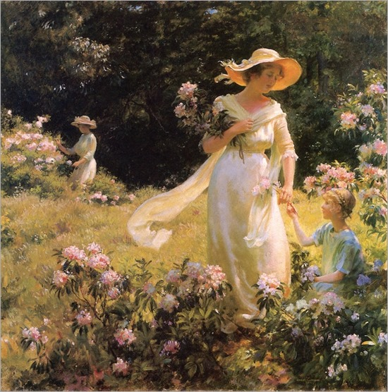 Among the Laurel Blossoms (1914) by Charles Courtney Curran (1861-1942)