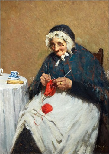 AN OLD GRANDMOTHER KNITTING - paul knight