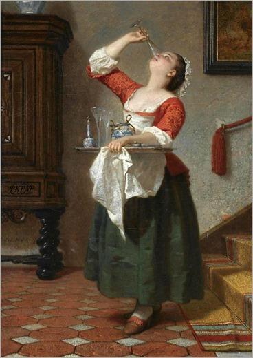 August Wilhelm Amberg (German, 1822 - 1899) - the maid