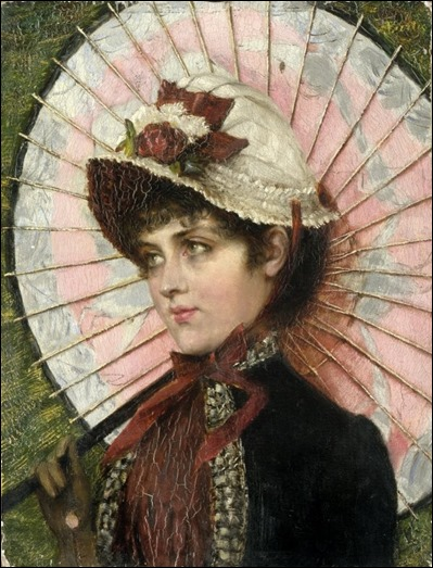 F. Berti, XIX - XX century, Young Lady with parasol