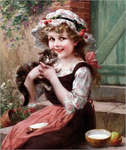Fillette et son petit chat-Emile Vernon