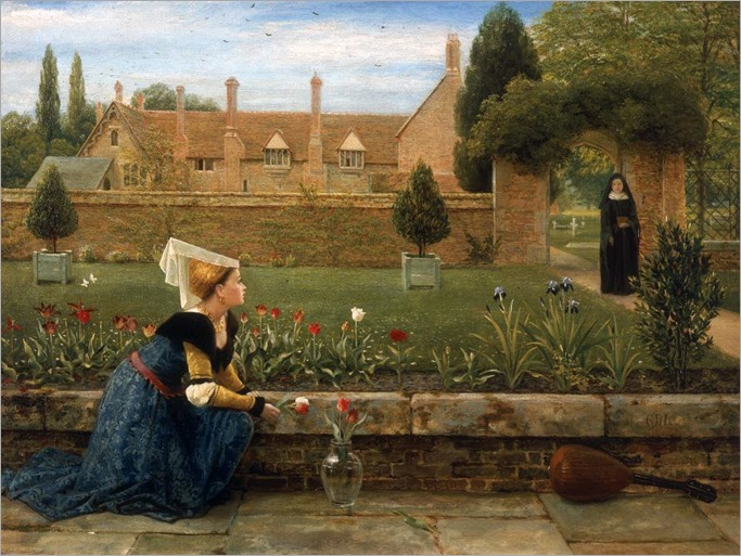 George Dunlop Leslie - In a Convent Garden