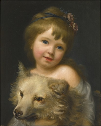 girl with dog-Nathaniel Hone, R.A.