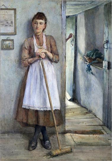 Henry Meynell Rheam (1859-1920)- A Maid Sweeping