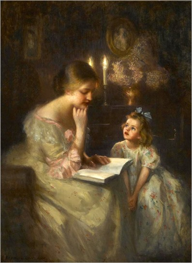 James Francis Day (American, 1863-1942) A story read by candlelight