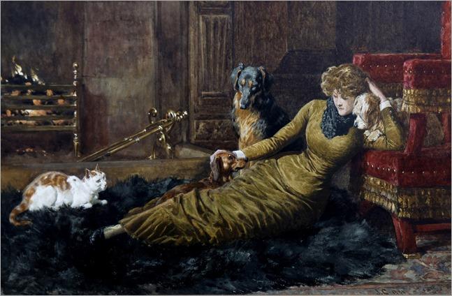 John Charlton (british, 1849-1917)- Her Favourites 1881
