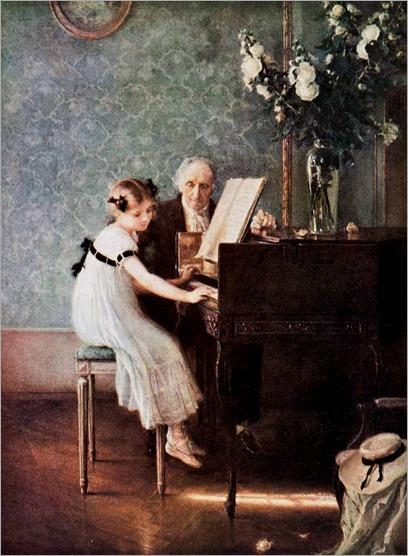 Jules-Alexis Muenier-La leçon de clavecin-c.1920