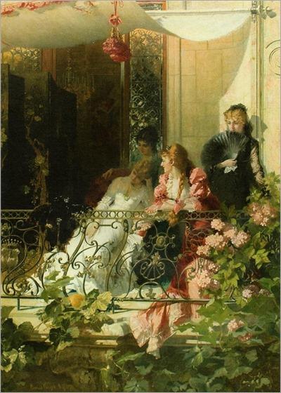 ladies on a balcony- Conrad Kiesel