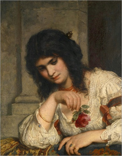 Lady on a Balustrade with Rose - Julius Schrader (german painter) - 19th century