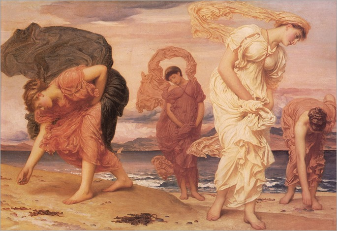 Leighton-greek_girls_picking_up_pebbles_by_the_sea-