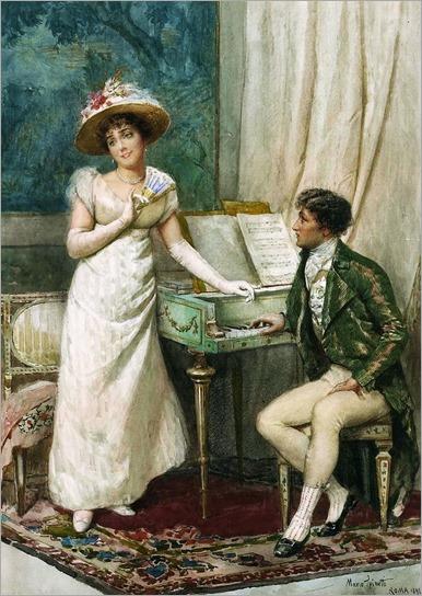 Mario Spinetti (Italian, fl. 1880-1920) - A flirtatious moment