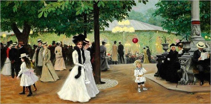 Paul Gustave Fischer - The red balloon. Summer evening in Tivoli-1901