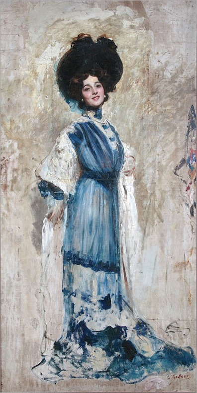 Portrait of Lina Cavalieri by Cesare Tallone - 1900