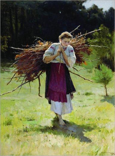 returning from the woods - Nikolai Pimonenko - 1900