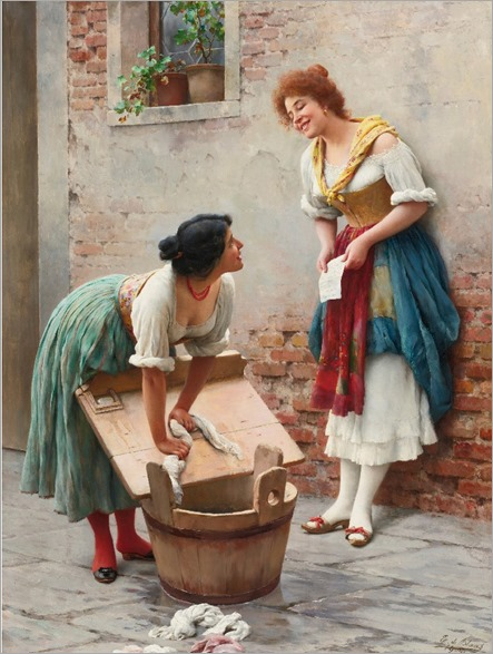 Sharing the News (1904)-Eugene de Blaas