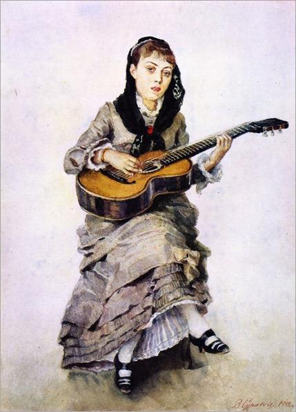 Sophia Kropotkina with a Guitar-Vasily-Surikov