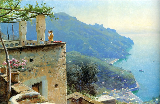 The Ravello Coastline - 1926 - Peder Mork Monsted (danish painter)
