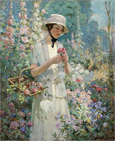 Woman with Flower Basket-Abbott Fuller Graves (american -1859-1936)