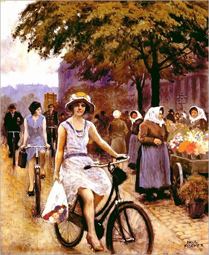 Bicycling Girl - Paul Gustave Fischer (20th century-danish painter)
