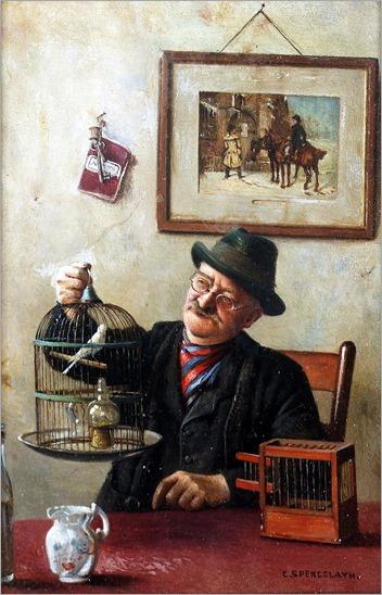 Charles Spencelayh (British, 1865-1958) - Dick's New Home