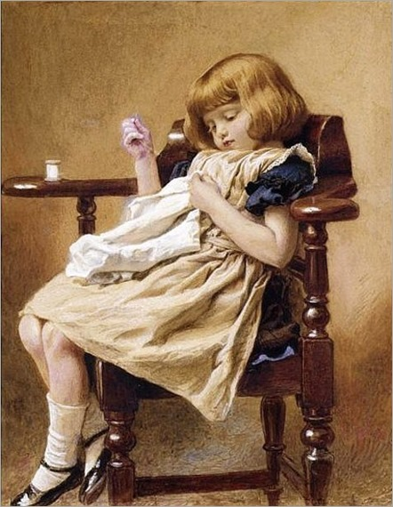Child Sewing - Robert Barnes (1840 – 1895, English)